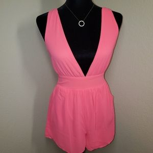 Neon Pink Double V Romper Size Small